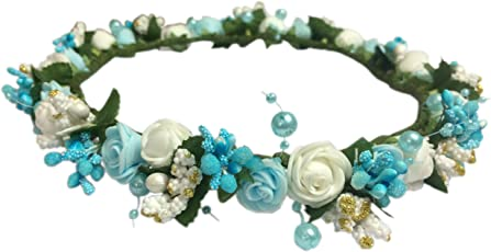 Loops n knots Blue Pearl Princess Collection Floral Tiara/Crown For Girls & Women (Hair Accessory)