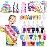 ZOOI Batikfarben Set - 16 Färben DIY Textilfarbe | Tie Dye Kit | Batik Set Waschmaschinenfest Von Stoff Und Kleidung, Färbemi