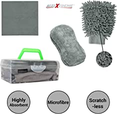 AllExtreme AEFLD14 3 in 1 Car Cleaning Tool Kit Exterior and Interior Wash Supplies with Microfiber Cleaning Cloth, Dual Sided Wash Glove and Sponge with Carry Box (3 Pcs)