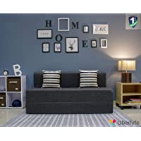 Uberlyfe Three Seater Sofa Cum Bed - Perfect for Guests - Jute Fabric Washable Cover - Dark Grey with 2 Cushions(Striped Black Pattern) | 5' X 6' Feet.(SCB-001733-BK-STRP-BK_A)