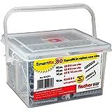 Fischer 531271 Kit Smartfix Box pluggen met schroef met haken voor fantasierijke gebouwhuls en geperforeerd, grijs, set van 8