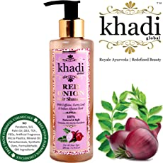 Khadi Global Onion Shampoo with Caffeine Curry Leaf and Indian Alkanet Root Controlling Hair Fall Splitends and Dandruff - 200ml / 6.76 Fl.Oz