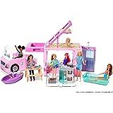Barbie GHL93 - Barbie 3-in-1 Droomcamper met Zwembad, Truck, Boot en 50 Accessoires, Meerkleurig, Vanaf 3 Jaar