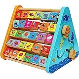 TOWO Centre activité bébé multijeux Montessori - Triangle activité en bois - Boulier, Alphabet , labyrinthe, Horloge - Cadeau