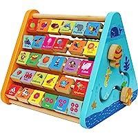 TOWO Centre activité bébé multijeux Montessori - Triangle activité en bois - Boulier, Alphabet , labyrinthe, Horloge…