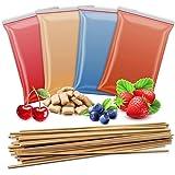 4 x 200 g de sucre aromatique + 50 bâtonnets de barbe à papa | cerise – fraise – myrtille – 4 types de sucre avec goût pour b