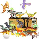 WOSTOO Juego de Dinosaurios, Dinosaurios Juguetes17 Piezas Juguete Dinosaurio & 1 Piezas Huevos de Dinosaurio con 5 Plantas F