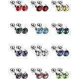 12 Paia Orecchini a Bottone in Acciaio Inox Set Cartilagine Elica Orecchio Piercing Bilanciere a Bottone Gioielli del Corpo,