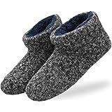 KuaiLu Zapatillas de Estar en Casa Hombre Cálido Invierno Interior Forro de Felpa Pantuflas Cerradas Espuma de Memoria Cómodo