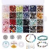 Cuentas de Piedra Lava Naturales 24 colores Kit de cuentas de piedras preciosas irregulares de, kit de cristal de piedras pre
