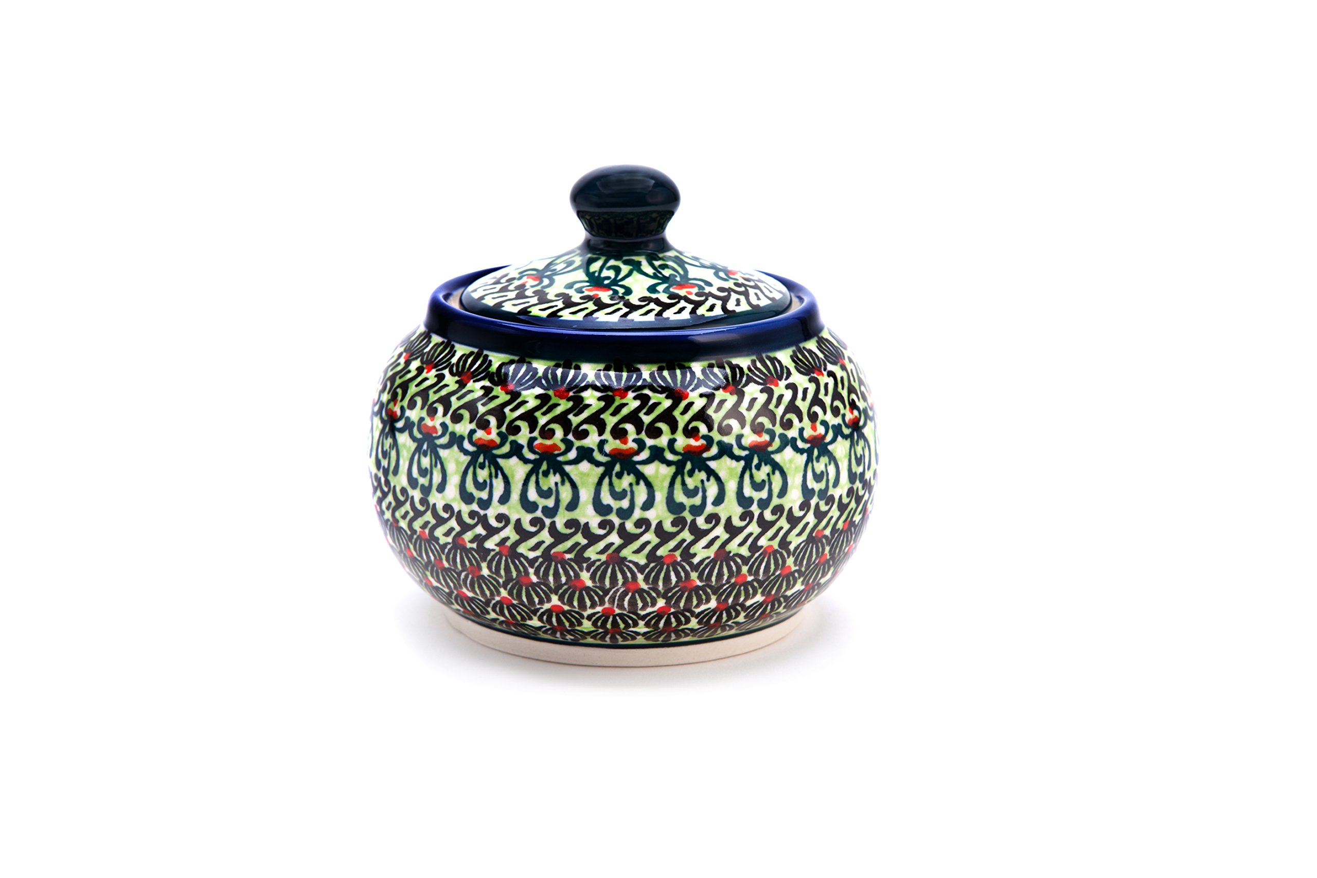 Hand-Decorated Polish Pottery Sugar Bowl Round, Volume: 0,3 l Ø 10.7 cm H = 9,3 cm Decoration DU181