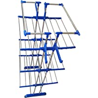 VIMART Jumbo Cloths Extra 4 Hanger Pure Stainless Steel Shiny Cloths Dryer Stand/Cloth Drying Racks (Blue)