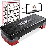 POWRX Stepbank voor thuis incl. workout I Stepper in hoogte verstelbaar en antislip voor aerobic, gymnastiek en fitness I Hom