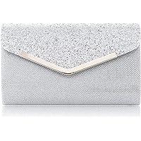 LONGBLE Damen Clutch Glitter Elegante Envelope Tasche, Handtasche Clutch Silber Glitzer Abendtasche mit abnehmbarer…