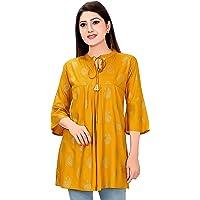 Ayukti Women's Rayon Cotton Maternity Feeding Nursing Tunic Top with Zipper for Pre & Post Pregnancy