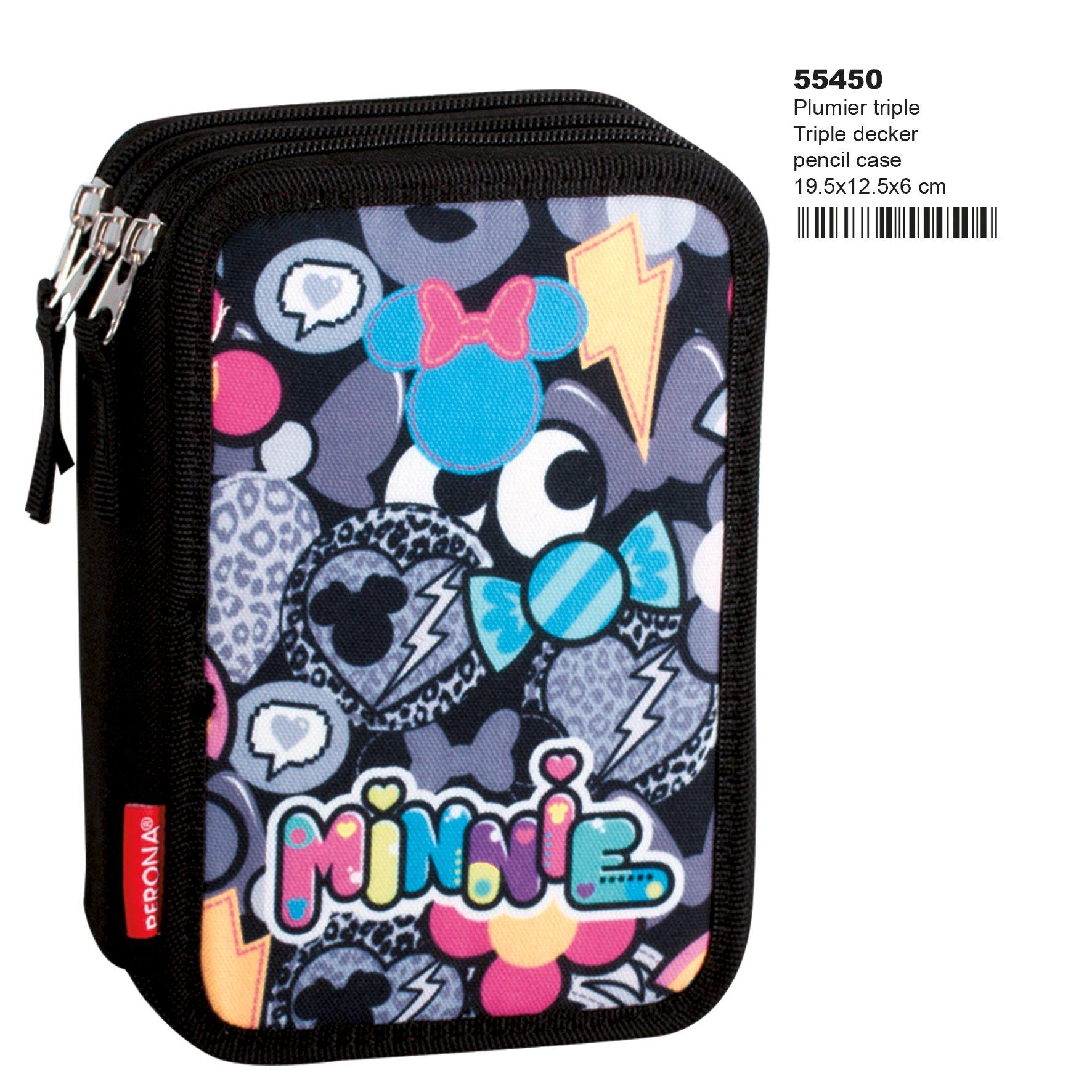 Minnie Mouse Patch – Plumier de Triple Compartimento 45 Piezas, Estuche (Perona 55450)