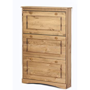 schuhschrank massiv kiefernholz gelaugt ge lt mit 3 klappen schuhkommode neu k che. Black Bedroom Furniture Sets. Home Design Ideas
