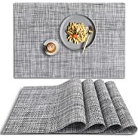 HomEdge Lot de 4 sets de table en PVC antidérapant résistant à la chaleur - Lavables - Gris