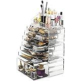 Scatola cosmetici trucchi e makeup con 12 cassettiere (trasparente)