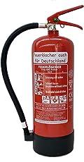 6 kg ABC Pulver Feuerlöscher NEU Orginalverpackt Brandklasse ABC , EN3 , Messingarmatur + Sicherheitsventil + Manometer / Wandhalter / Standfuß , Pulverlöscher Ausführung: mit Kunststoffstandfuß + ohne Wandhalter