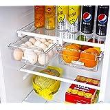 HapiLeap Lot de 2 boîtes de rangement pour réfrigérateur avec tiroir coulissant