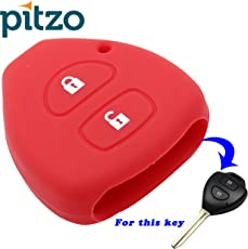 PITZO Car Silicone Key Cover for 2 Button Remote Key Shell/Case/Body for Toyota Innova / Fortuner / Corolla - Red