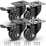 GBL® 4 x Zwenkwielen 50mm met Schroeven - Meubelzwenkwielen Zwaar Rubberen Zwenkwielen voor Meubels - Wielen Karretje - Trans