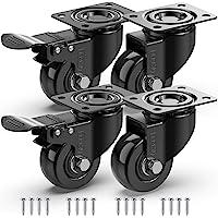 GBL - Lot de 4 Noir Roulettes Pivotantes 50mm + 16 Vis, Roues Avec Frein Plaques Industrielles Roue pour Meuble…