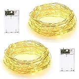 Lot de 2 guirlandes lumineuses à LED de 10 m, 2 modes d'éclairage, alimentées par piles, 100 LED, fil argenté, pour chambre à