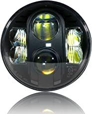 GENSSI LED Projector DOT Approved Black Headlight 7 inch Round