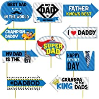 Festiko Happy Fathers Day Party Decoration Item Photo Booth Props - 10 Pcs Set of Photo Booth Props