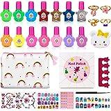 Jojoin 27 Pcs Set de Esmalte de Uña Infantil, Pintauña para Niña, Maquillaje Niña, Conjunto de 14 Esmaltes de Color Permanent
