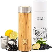 Santai Living Bambou Bouteille Thermo Tasse pour Le Thé, Fruits & Café | Gobelet Isotherme | Infusions de Fruits sans…