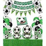 PIXHOTUL Decoración de fiesta de cumpleaños de fútbol, incluyendo platos de papel, tazas, servilletas, mantel, bandera y glob