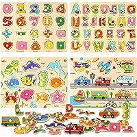 BeebeeRun Puzzle en Bois Alphabet Numéros Animaux Véhicules,Jouets Montessori Enfant 2 3 4 Ans Jouet éducatif Puzzles…