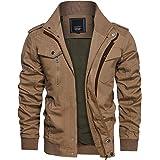 TACVASEN Mens Summer Cargo Jacket Lightweight Autumn Army Military Jacket with Pockets