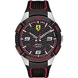 Ferrari Mens Quartz Watch, Analog Display and Rubber Strap 830630