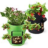 Potatis växtpåse jordgubbar växter väska 40 L/10 galloner växtpåse stor med handtag och sidotillväxtväskor, andningsaktiv Gro
