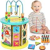 WloveTravel Cube D'activité en Bois Cube Labyrinthe 10 en 1 Jouets éducatifs à Usages Multiples pour Bébé Enfants Tout-Petits