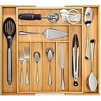 Artisware Organisateur de Bambou de tiroir Extensible, Couverts et Plateau d'ustensile (7 Compartiments Extensible)