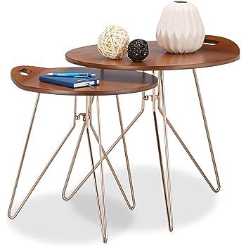Relaxdays Beistelltisch 2er Set Holz, Metallgestell, Retro Design  (Walnuss), Couchtisch