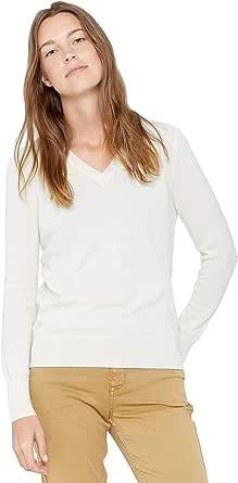 State Cashmere Donna 100% Puro Cashmere Pullover A Manica Lunga con Collo a V