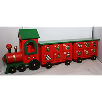Wooden Train With Two Carriages Christmas Advent Calendar T Amazon