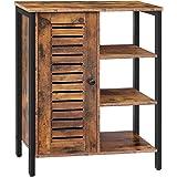 HOOBRO Bathroom Cabinet, Storage Cabinet, Cupboard with 2 Hidden Adjustable Shelves, , Sideboard with 3 Open Shelves, Side Ca