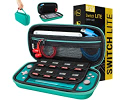 Orzly Carry Case for Nintendo Switch Lite with Game Cartridge Holders and Large Dual Pocket for accessories - Blue Turquoise