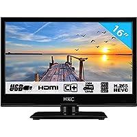 HKC 16M4: Téléviseur LED de 39,6 cm (16 Pouces) (HD-Ready 1.366 x 768, Triple Tuner, CI +, HDMI, Lecteur multimédia Via USB 2.0, Chargeur de Voiture 12 V), Noir