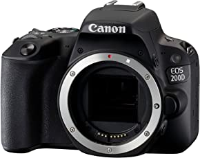 Canon EOS 200D SLR-Digitalkamera (24,2 Megapixel, 7,7 cm (3 Zoll) Display, Full-HD, APS-C CMOS-Sensor, WLAN mit NFC, DIGIC 7) nur Gehäuse schwarz