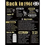 Back in 1961 Poster UK Happy 60th Birthday Party Decoration Elegant Gift 60 Years Anniversary Idea Home Decor for Women…