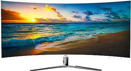 """HKC NB34C 34"""" Ultra WQHD (3440x1440) Curved Gaming Monitor, 21:9, DP (Displayport), HDMI, DVI, Freesync, Flicker Free, Lower Blue Light. Weiß"""