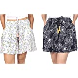 B STORIES Women's Viscose Printed 2 Pack Lounge Culotte Shorts